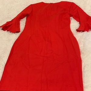 J Crew Red Bell Sleeve Dress